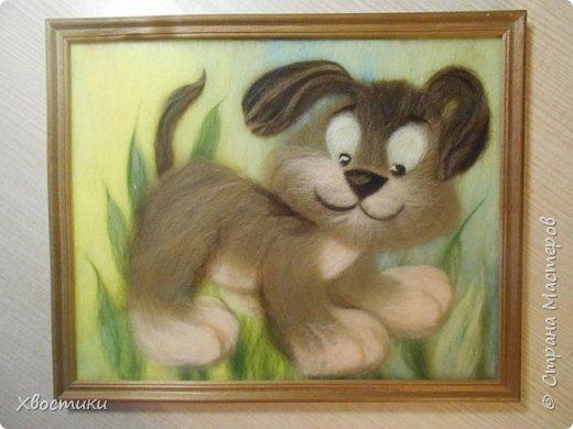Вот такой забавный щеночек получился из шерсти: фото 1
