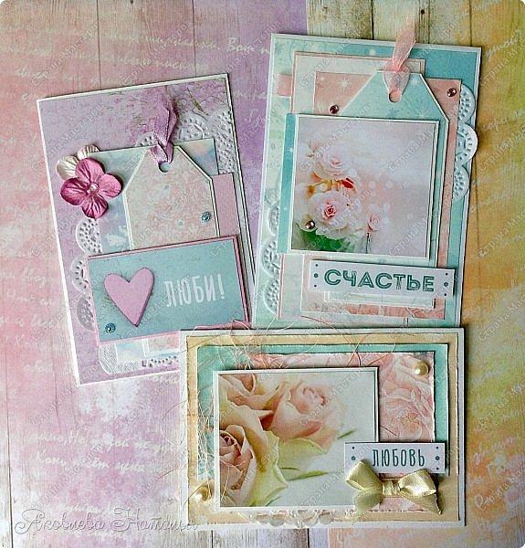 """Сотворились у меня простенькие открыточки, которые я назвала """"открыточками для настроения"""". Меня попросили сделать именно простенькие, но чтобы их можно было подарить любимому человеку без повода, для поднятия или поддержания хорошего настроения  фото 1"""