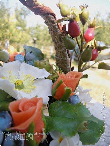 """Здравствуйте жители страны!!!!!! Слепилась у меня такая корзинка с цветами. Давно хотела лесной орешек слепить, тут и шиповник попробовала, первый раз слепила...... корзинку тоже сама """"натворила""""))) фото 10"""