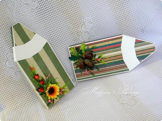 Здравствуйте! Накануне 1 сентября сотворила под заказ в подарок учителям небольшие презенты: портфель с чаем и шоколадкой внутри и коробочки-карандаши для флэшек.  фото 4