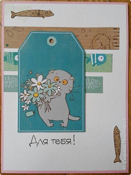 Накануне преобрела бумагу с котовой темой и  главным героем- Басиком. Решила поэксперементировать и сделать серию открыток. Первая открытка- в американском стиле. фото 24