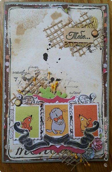 Накануне преобрела бумагу с котовой темой и  главным героем- Басиком. Решила поэксперементировать и сделать серию открыток. Первая открытка- в американском стиле. фото 3