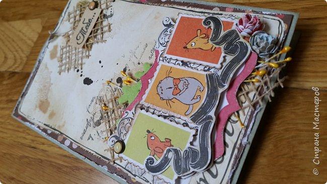 Накануне преобрела бумагу с котовой темой и  главным героем- Басиком. Решила поэксперементировать и сделать серию открыток. Первая открытка- в американском стиле. фото 5