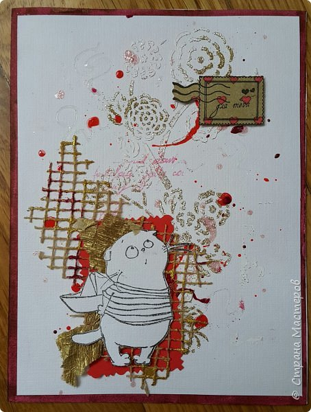 Накануне преобрела бумагу с котовой темой и  главным героем- Басиком. Решила поэксперементировать и сделать серию открыток. Первая открытка- в американском стиле. фото 18