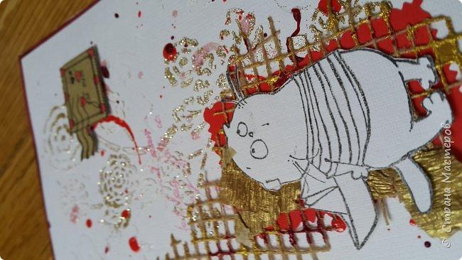 Накануне преобрела бумагу с котовой темой и  главным героем- Басиком. Решила поэксперементировать и сделать серию открыток. Первая открытка- в американском стиле. фото 19