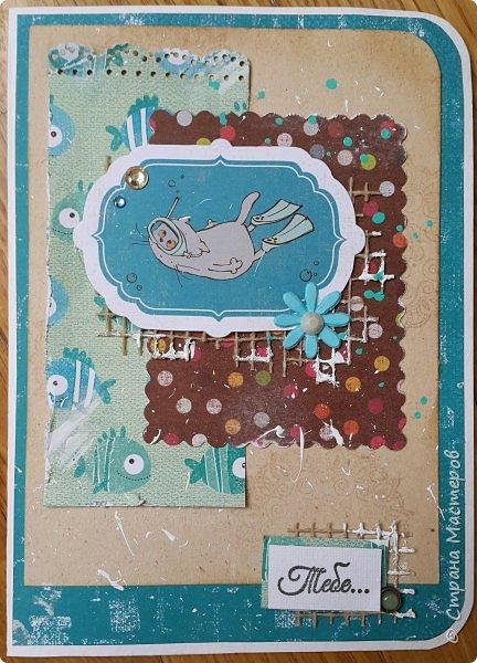 Накануне преобрела бумагу с котовой темой и  главным героем- Басиком. Решила поэксперементировать и сделать серию открыток. Первая открытка- в американском стиле. фото 11