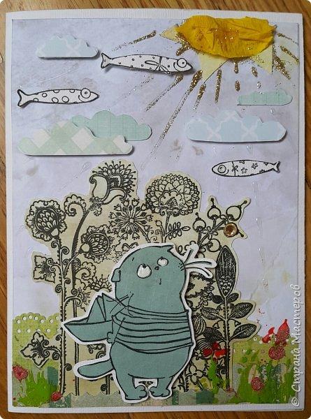 Накануне преобрела бумагу с котовой темой и  главным героем- Басиком. Решила поэксперементировать и сделать серию открыток. Первая открытка- в американском стиле. фото 9
