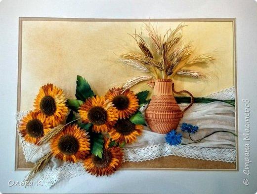 Здравствуйте,  дорогие соседи, друзья и все все все))) С большим удовольствием представляю вам свою новую работу натюрморт с подсолнухами и колосками.  фото 1