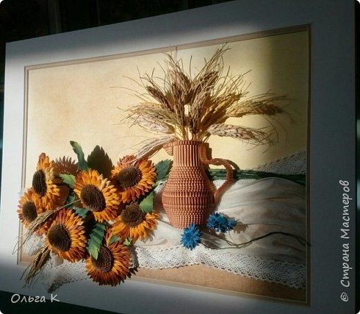 Здравствуйте,  дорогие соседи, друзья и все все все))) С большим удовольствием представляю вам свою новую работу натюрморт с подсолнухами и колосками.  фото 3