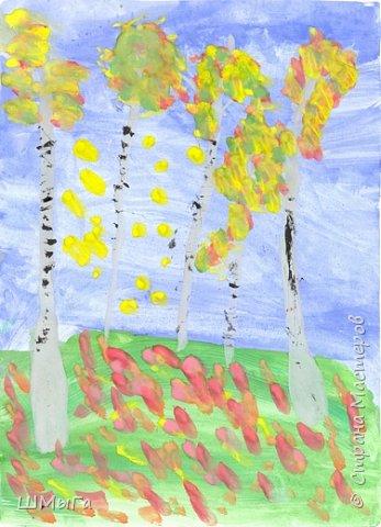 Золотая осень... Кто может пропустить это время в своем творчестве? Вот и мы с детками решили запечатлеть эту чУдную пору на своих рисунках. Я прикрепила лист к доске и рисрвала на нем, а детки (2 класс) повторяли. Но у каждого получилась СВОЯ березовая рощица. фото 14