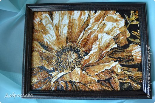 Здравствуйте дорогие мастерицы! В копилку моих янтарных работ добавились ещё две. Звёздный лев и цветок мака. Процесс работы я описывать не буду, он есть в предыдущем посте. Размер рамки 30х30. фото 5