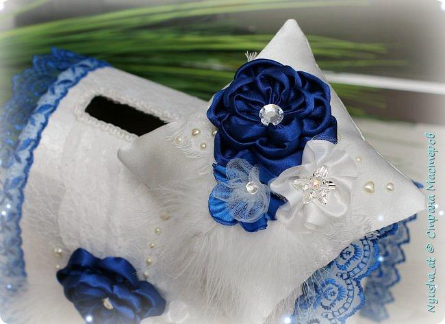 Подушечка и казна в синем цвете фото 2