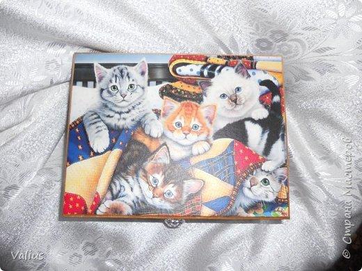 Добрый день! Я сегодня с котятками пришла. Долго вынашивала идею шкатулки-пенала размером 25х19 см, но ничего не придумывалось. Случайно наткнулась на картинку с котятками и ... опа... вот они! Не буду много писать, просто посмотрите, буду  очень рада, если приглянется моя шкатулочка... фото 4