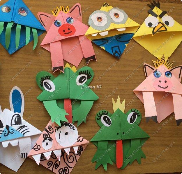 Такие забавные закладки можно смастерить в любимой мною технике оригами плюс аппликация:  фото 19