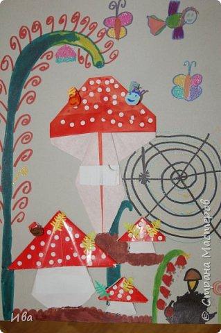 Мухоморы. Оригами. фото 10
