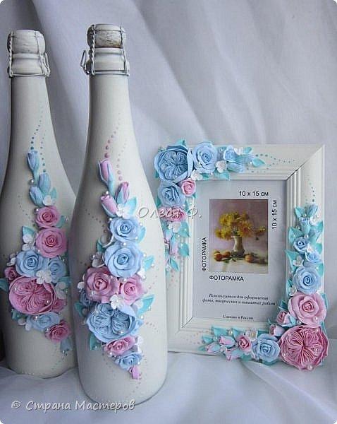 Очередной небольшой свадебный наборчик в голубом и розовом цвете: шампанское фоторамка и семейный альбом. Уже говорила, у меня в это лето был бум этих оттенков почему то.  фото 6
