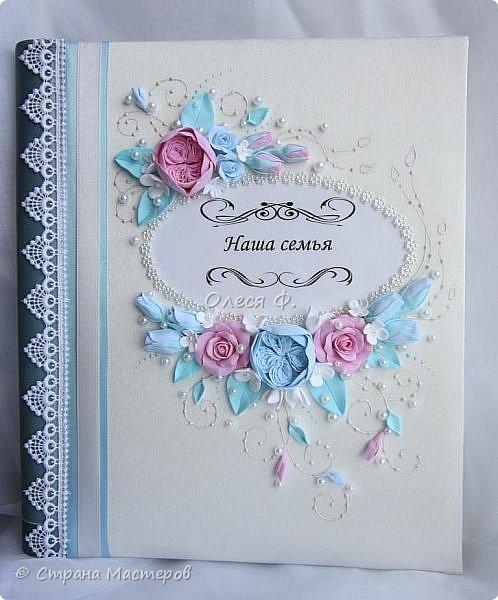 Очередной небольшой свадебный наборчик в голубом и розовом цвете: шампанское фоторамка и семейный альбом. Уже говорила, у меня в это лето был бум этих оттенков почему то.  фото 7