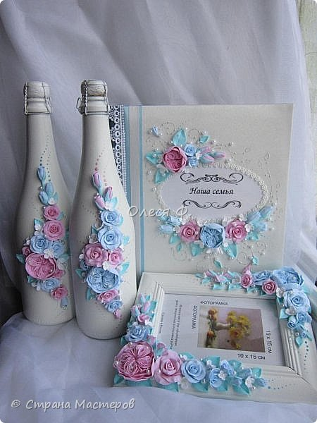 Очередной небольшой свадебный наборчик в голубом и розовом цвете: шампанское фоторамка и семейный альбом. Уже говорила, у меня в это лето был бум этих оттенков почему то.  фото 2