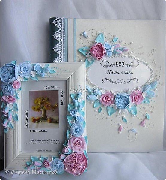 Очередной небольшой свадебный наборчик в голубом и розовом цвете: шампанское фоторамка и семейный альбом. Уже говорила, у меня в это лето был бум этих оттенков почему то.  фото 11