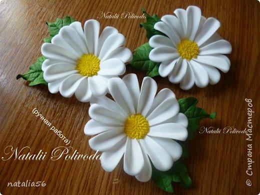Пять тонированных роз на ленте для косы и две белых на зажиме... фото 9