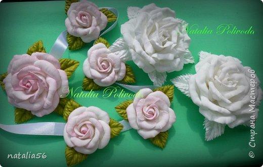 Пять тонированных роз на ленте для косы и две белых на зажиме... фото 1