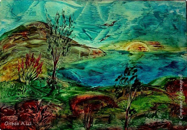 Пейзаж в синих тонах. А.3 фото 4