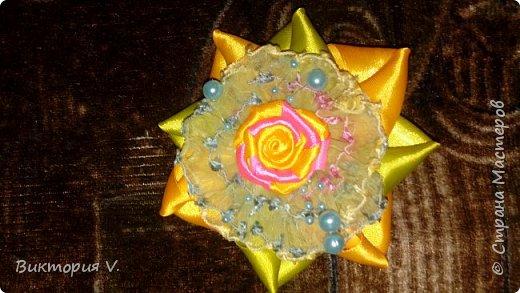 Бантики с двухцветной розочкой. фото 5