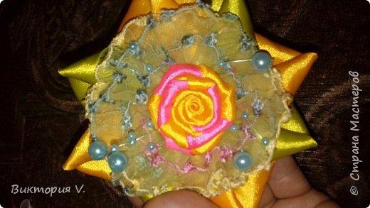 Бантики с двухцветной розочкой. фото 6