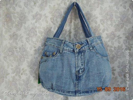 Очень люблю джинсу . Вот и появились следующие две сумки-сестрички. Вид спереди - всё строго и лаконично. фото 1