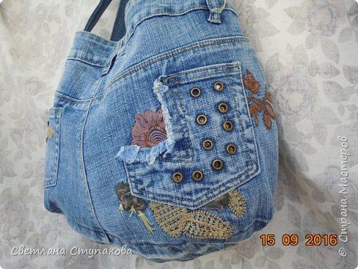 Очень люблю джинсу . Вот и появились следующие две сумки-сестрички. Вид спереди - всё строго и лаконично. фото 2