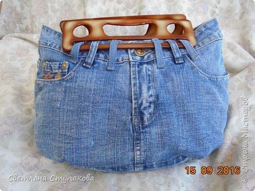 Очень люблю джинсу . Вот и появились следующие две сумки-сестрички. Вид спереди - всё строго и лаконично. фото 6