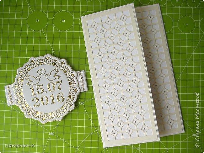 Приветствую всех, кто нашел время заглянуть ко мне в гости!!!  Забыла показать вам свадебную открытку, которую сделала в июле. Размер 12 х 19 см. фото 2