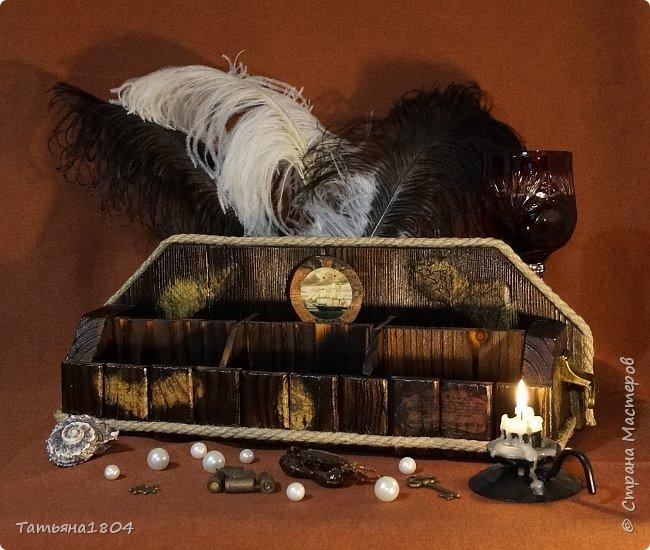 """Короб изготовлен """"с нуля"""" вручную. Обжиг, брашировка, декор при помощи джутового шпагата и декупажа кусочками старинной карты. По бокам - ручки. фото 1"""
