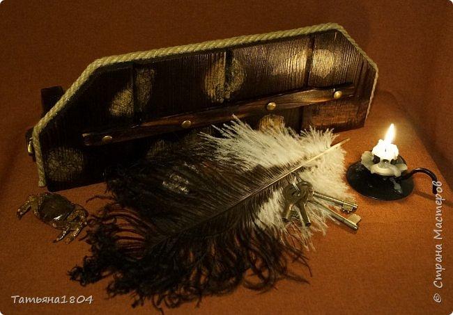 """Короб изготовлен """"с нуля"""" вручную. Обжиг, брашировка, декор при помощи джутового шпагата и декупажа кусочками старинной карты. По бокам - ручки. фото 4"""