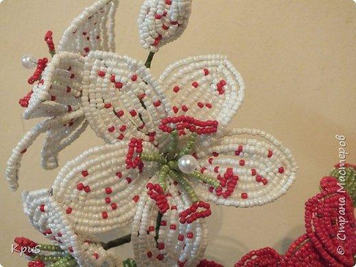 Добрый вечер жители СМ. Представляю Вашему вниманию несколько моих работ из бисера.  Эту композицию из орхидеи и лилии закончила только сегодня. фото 4