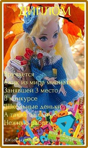 """Здравствуйте Все.  Сегодня я сдаю работу на конкурс  """" Школьные деньки""""     http://stranamasterov.ru/node/1042660   Её представляет Алиса она переходит в этом году в 5 класс.  фото 17"""