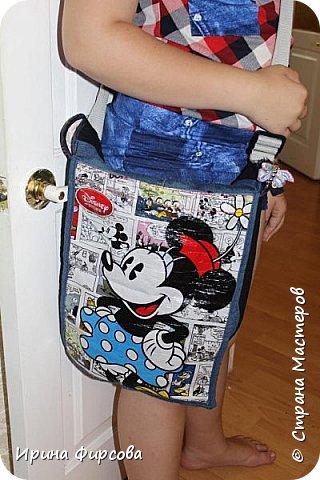 Моя младшая дочь Ася несколько лет носила сумку, которая, как оказалась, для неё очень удобна и практична. Долго искали похожую в магазинах...а потом, просто решила сшить аналогичную из тех тканей, которые были дома))) фото 2