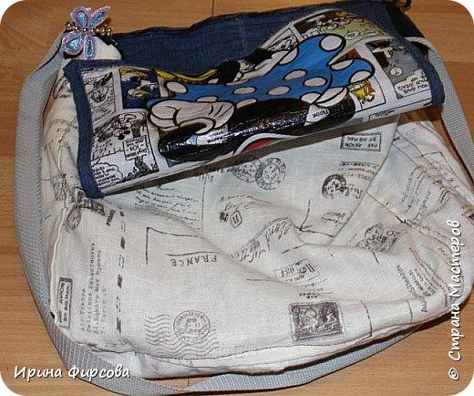 Моя младшая дочь Ася несколько лет носила сумку, которая, как оказалась, для неё очень удобна и практична. Долго искали похожую в магазинах...а потом, просто решила сшить аналогичную из тех тканей, которые были дома))) фото 5