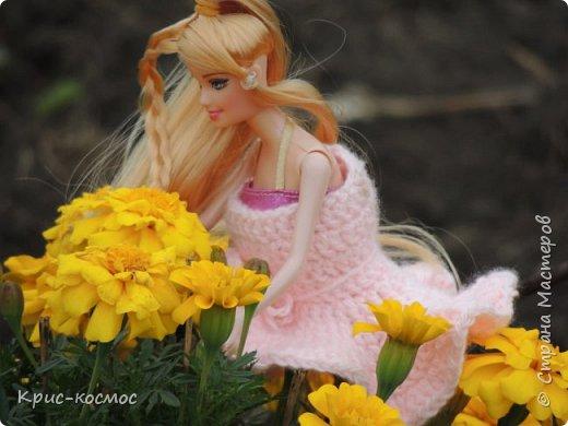 Привет, СМ! У меня появилась новая Барби и я связала ей новое платье. Приехала она ещё в субботу, просто обновок не было. И ещё у Арзу с Белью головы поменяла и Бель- шарнирка. Ей я сделала ООАК  и перепрошивку  волос. Барби я назвала Маринет.  фото 1