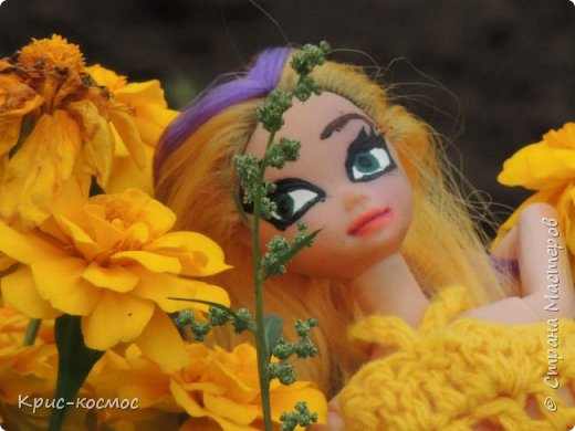 Привет, СМ! У меня появилась новая Барби и я связала ей новое платье. Приехала она ещё в субботу, просто обновок не было. И ещё у Арзу с Белью головы поменяла и Бель- шарнирка. Ей я сделала ООАК  и перепрошивку  волос. Барби я назвала Маринет.  фото 3