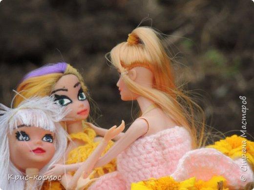 Привет, СМ! У меня появилась новая Барби и я связала ей новое платье. Приехала она ещё в субботу, просто обновок не было. И ещё у Арзу с Белью головы поменяла и Бель- шарнирка. Ей я сделала ООАК  и перепрошивку  волос. Барби я назвала Маринет.  фото 4