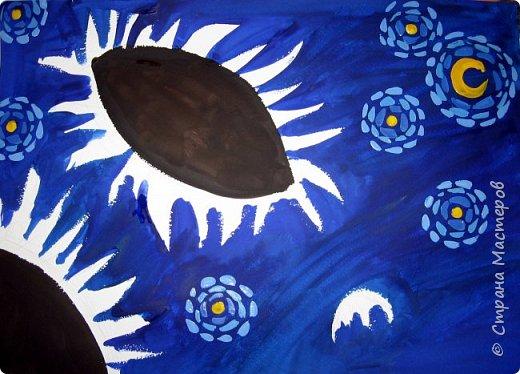 """В начале небольшая предыстория... Увидела в интернете картину с подсолнухами, нашла автора - Cinnamon Cooney , оказалась очень артистичная и своеобразная художница, пишет акрилом и маслом, можно найти её видео-уроки на английском языке, всё очень доступно показано. И решила нарисовать гуашью  """"солнышки"""" с необычным фоном. Планировала для 6-7 леток, но первоиспытателями стали 5-ти летки, фото в конце МК.  фото 5"""