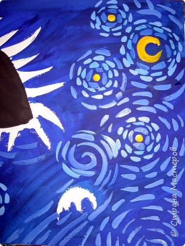 """В начале небольшая предыстория... Увидела в интернете картину с подсолнухами, нашла автора - Cinnamon Cooney, оказалась очень артистичная и своеобразная художница, пишет акрилом и маслом, можно найти её видео-уроки на английском языке, всё очень доступно показано. И решила нарисовать гуашью """"солнышки"""" с необычным фоном. Планировала для 6-7 леток, но первоиспытателями стали 5-ти летки, фото в конце МК. фото 6"""