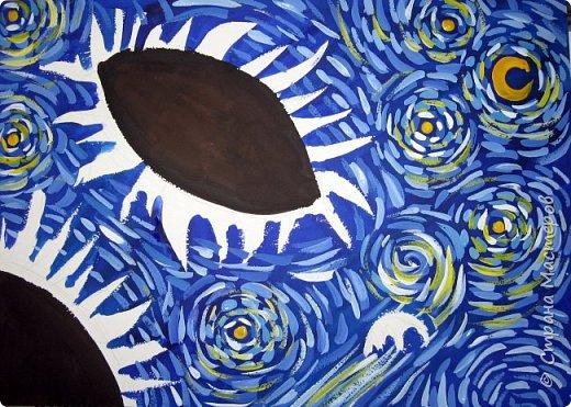 """В начале небольшая предыстория... Увидела в интернете картину с подсолнухами, нашла автора - Cinnamon Cooney , оказалась очень артистичная и своеобразная художница, пишет акрилом и маслом, можно найти её видео-уроки на английском языке, всё очень доступно показано. И решила нарисовать гуашью  """"солнышки"""" с необычным фоном. Планировала для 6-7 леток, но первоиспытателями стали 5-ти летки, фото в конце МК.  фото 11"""