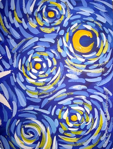 """В начале небольшая предыстория... Увидела в интернете картину с подсолнухами, нашла автора - Cinnamon Cooney , оказалась очень артистичная и своеобразная художница, пишет акрилом и маслом, можно найти её видео-уроки на английском языке, всё очень доступно показано. И решила нарисовать гуашью  """"солнышки"""" с необычным фоном. Планировала для 6-7 леток, но первоиспытателями стали 5-ти летки, фото в конце МК.  фото 10"""