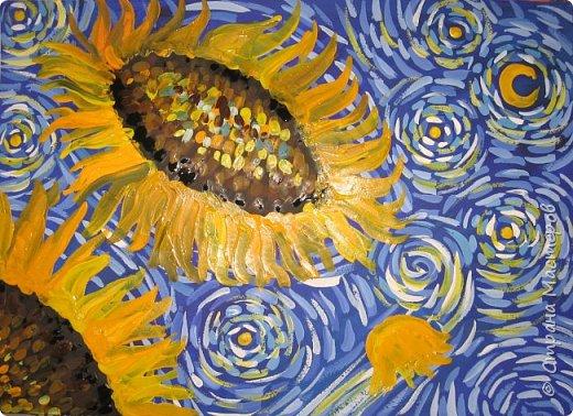 """В начале небольшая предыстория... Увидела в интернете картину с подсолнухами, нашла автора - Cinnamon Cooney , оказалась очень артистичная и своеобразная художница, пишет акрилом и маслом, можно найти её видео-уроки на английском языке, всё очень доступно показано. И решила нарисовать гуашью  """"солнышки"""" с необычным фоном. Планировала для 6-7 леток, но первоиспытателями стали 5-ти летки, фото в конце МК.  фото 14"""