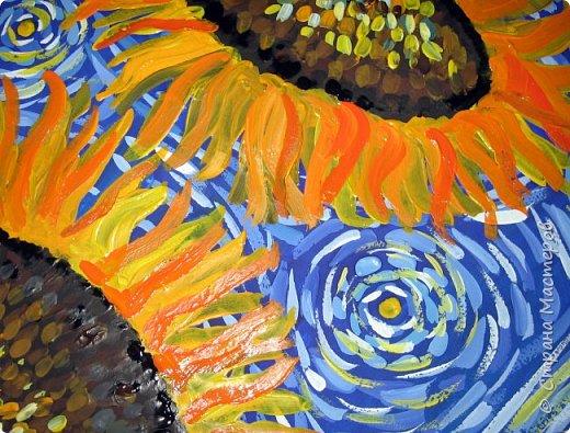 """В начале небольшая предыстория... Увидела в интернете картину с подсолнухами, нашла автора - Cinnamon Cooney, оказалась очень артистичная и своеобразная художница, пишет акрилом и маслом, можно найти её видео-уроки на английском языке, всё очень доступно показано. И решила нарисовать гуашью """"солнышки"""" с необычным фоном. Планировала для 6-7 леток, но первоиспытателями стали 5-ти летки, фото в конце МК. фото 17"""