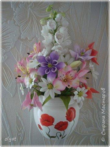 Добрый день! Вот и мои новые цветочки. Кашпо с цветочками на стену (дельфиниум, альстромерии, аквилегии и ромашки). фото 1