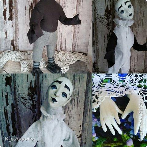 Всем Привет!А у меня новая кукла!!!Пьеро!Большой каркасный парень.48 см.голова поворачивается.стоит сомостоятельно.  фото 5