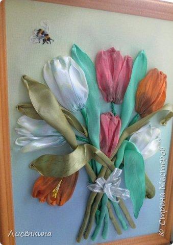 Здравствуйте дорогие мастера и мастерицы. Сегодня я хочу показать вам мою вторую попытку вышить тюльпаны лентами. Как вы считаете эти тюльпаны лучше или хуже? Или я стою на месте в своём усовершенствовании мастерства.... фото 5
